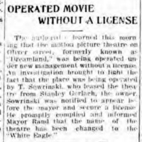 Operated movie without a license, Dreamland, White Eagle, article (Tonawanda News, 1916-03-23).jpg