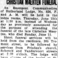 Masons to Have Charge of Christian Maerten Funeral (Tonawanda News, 1933-06-13).jpg