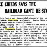 Justice Childs Says the Railroad Cant Be Stopped - Sweeney dispute, article (Tonawanda News, 1904-06-21).jpg