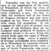 Wheatfield 74 years old, history and name origin, article (Tonawanda News, 1910-05-13).jpg