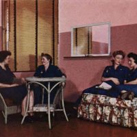 Rose-colored ladies employee rest room, Du Pont Color Conditioning Paint System sales brochure (Hagley archive, c1951).jpg