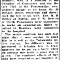Buffalo Sled production manager taken to asylum, article (Tonawanda News, 1921-05-04).jpg