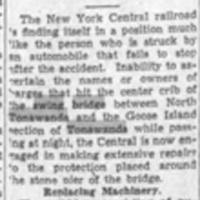 Barge Strikes Center of Swing Bridge, article (Tonawanda News, 1936-11-11).jpg