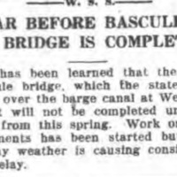 Year before bascule bridge is completed, article (Tonawanda News, 1918-02-18).jpg