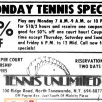 TENNIS UNLIMITED, ad, logotype (Tonanwanda News, 1980-04-04).png