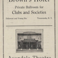 Brown's Hotel Ad, Avondale Theatre photo, Tonawanda Scholastica (1924).jpg