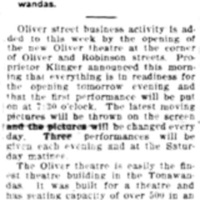 Tomorow opening night new Oliver Theater, article (Tonawanda News, 1910-11-02).jpg