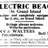 Electric Beach park and hotel on Grand Island, ad (Tonawanda News 1910-07-01).jpg