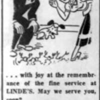 Their Eyes Danced, Linde TV ad and logotype (Tonawanda News, 1955-03-23).png