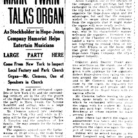 Mark Twain talks organ, article (Elmira Star-Gazette, 1907-04-03).jpg