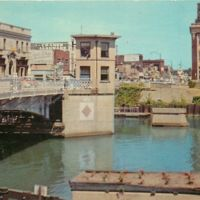 Bridge over Erie Barge Canal connecting, postcard (1970).jpg