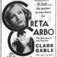 Shea's Riviera, Great Garbo, Clark Gable, Susan Lenox ad (Tonawanda News, 1931-11-14).png