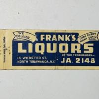 Frank's Liquors, matchbook (c1950).jpg
