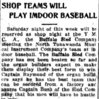 Shop teams will play indoor baseball, Buffalo Sled v NTMIW, article (Tonawanda News, 1914-11-25).jpg
