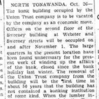Union Trust to vacate former Webster and Goundry Lumber Exchange Bldg, historical sketch (Niagara Gazette, 1933-10-26).jpg
