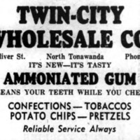 Twin-City Wholesale, 653 Oliver, Ammoniated gum, ad logotoye (Ton News 1950).png