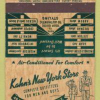 Kahns New York Store, 49 Main, Tonawanda, logotype matchbook (c1955).jpg