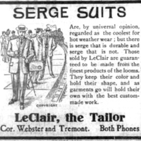 LeClair the Tailor, Webster and Tremont, ad (Tonawanda News, 1907-06-15).jpg