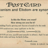 Proposed Home Of BPO Elks No 860, postcard reverse (1921).jpg