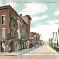 South Niagara Street, showing Erie Canal, postcard (1909).jpg