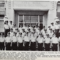Police officers outside City Hall, photo (Bicentennial magazine, 1965).jpg