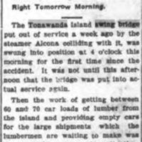 Island Bridge in Use Again, article (Tonawanda News, 1907-10-30).jpg