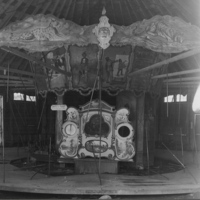 Artizan Factories, Inc. A-2 organ being on partially dismantled Dentzel carousel, Shelburne Museum, photo (c1950).jpg