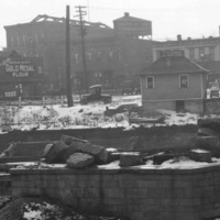 View of the east end of the wall at the junction of the old canal and creek, photo (Erie Canal Museum, 1920-11-22).jpg