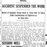 Swing Bridge Will Be Repaired by Morning, major layoffs, steam considered, article (Tonawanda News, 1907-10-28).jpg
