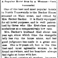 Backer House - A popular hotel run by a woman, article (Tonawanda News, 1893-11-30).jpg