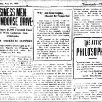 Business Men Indorse Drive, raise money for All Tonawandas football team, Kardex, article (Tonawanda News, 1920-08-24).jpg