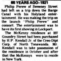 Perew leaves for Lockport on boat with Holyland, article (1921-08-25).jpg