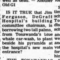 Joke about Blue Whale palm trees and De Graff pyramids, About Town item (Tonawanda Evening News, 1977).jpg