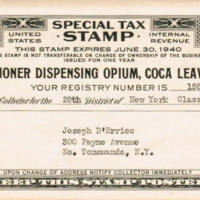 Opium and coca dispensary, 300 Payne, tax stamp (1940).jpg