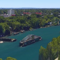 Northern swing bridge, Little River (Google map, 2016).png