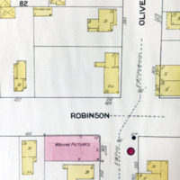 Moving pictures house, Robinson and Oliver, map detail (Sanborn Map Company, 1910, 1913).jpg