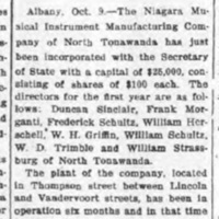 Organ Company Incorporated, article (Tonawanda News, 1905-10-09).jpg
