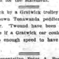 Peddler struck by Gratwick trolley car, joke, article (Tonawanda News, 1908-02-13).jpg