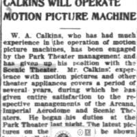Calkins will operate motion picture machine for Park, leaves Scenic, articel (Tonawanda News, 1910-03-03).jpg