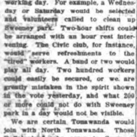 Volunteer Cleanup Needed for Sweeney Park, article (Tonawanda Evening News, 1917-07-27).jpg