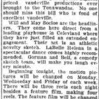 Vaudeville at Park Theater, Scenic Theater discontinues vaudeville, article (Tonawanda News, 1910-02-18).jpg