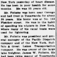 William H Follette, former mayor, is dead, obit (Tonawanda News, 1916-02-25).png