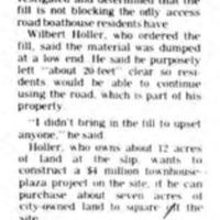 Dirt not blocking Weatherbest road, article (Tonawanda News, 1981-07-01).jpg