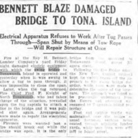 Bennett Blaze Damaged Bridge to Tonawanda Island, article (Tonawanda News, 1929-07-01).jpg
