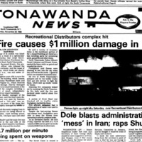 Fire causes one million damage, Recreational Warehouse, flea market, photo article (Tonawanda News, 1986-11-24).jpg