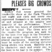 Park Theater bill pleases big crowds, article (Tonawanda News, 1910).png