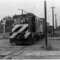 IRC train at the Junction, Lockport Freight Line, Sommer St at left, North Tonawanda (1947-07).jpg