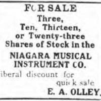 Olley looking to sell Niagara MIMC stock, ad (Tonawanda News, 1912-01-05).jpg