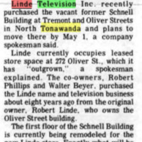 Linde TV acquires Schnell building, Tremont and Oliver, article (1972-03-23, Tonawanda News).jpg