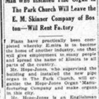 Organ builder to move here, article (Elmira Star-Gazette, 1907-01-18).jpg